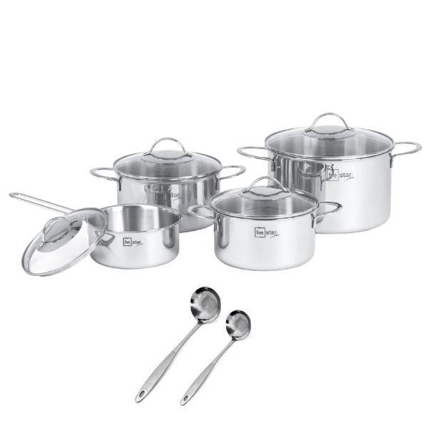 Bộ Nồi Inox 304  bếp từ 3 lớp đáy liền 4 món nắp kính Fivestar tặng 2 muỗng canh