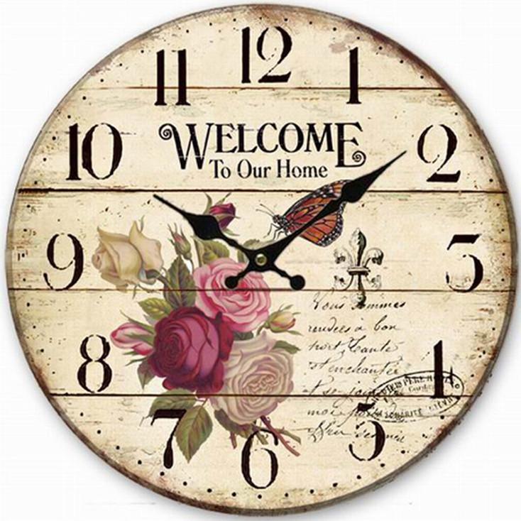 Đồng hồ treo tường Vintage Phong cách Châu Âu size to 30cm DH27 Hoa hồng