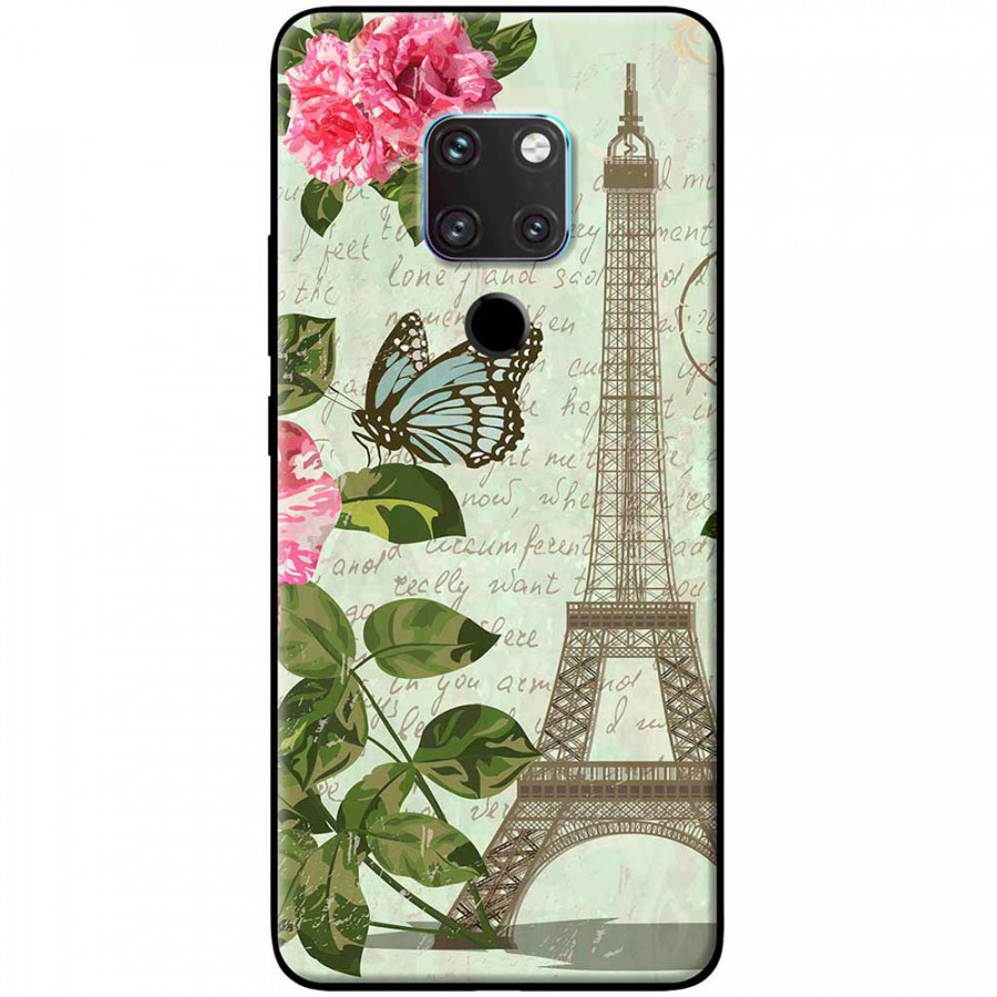 Ốp lưng dành cho Huawei Mate 20 mẫu Tháp Effiel con bướm