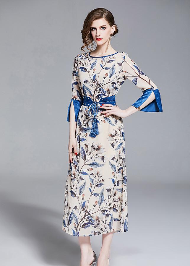 Đầm suông dự tiệc kiểu đầm suông in hoa xẻ tà kèm thắt lưng GOTI1706