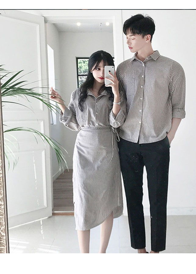 Bộ áo váy sơ mi cặp, đồ đôi thời trang thiết kế nam nữ đẹp AV175