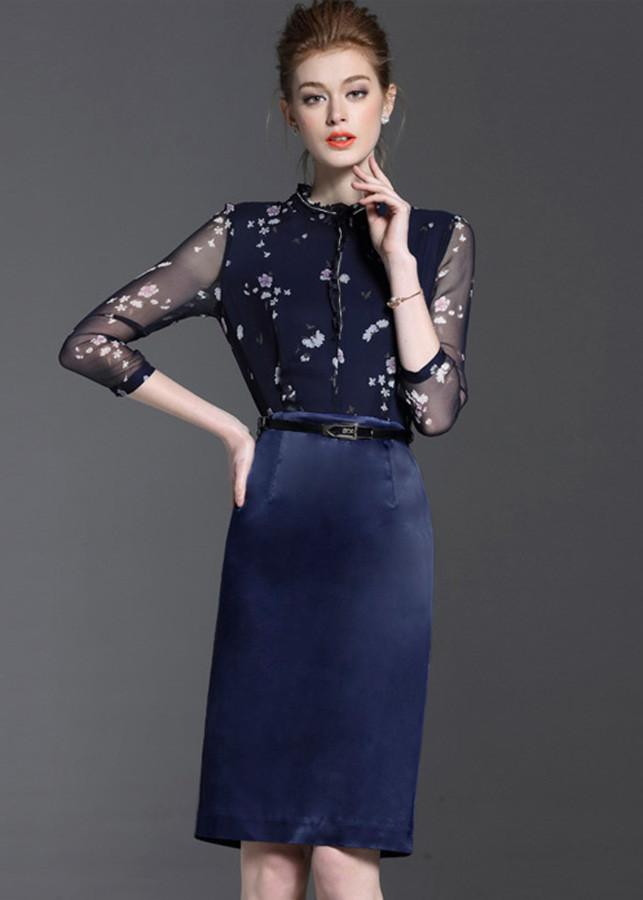 Đầm ôm công sở kiểu đầm ôm phối cổ bèo đính cườm kèm thắt lưng GOTI1716