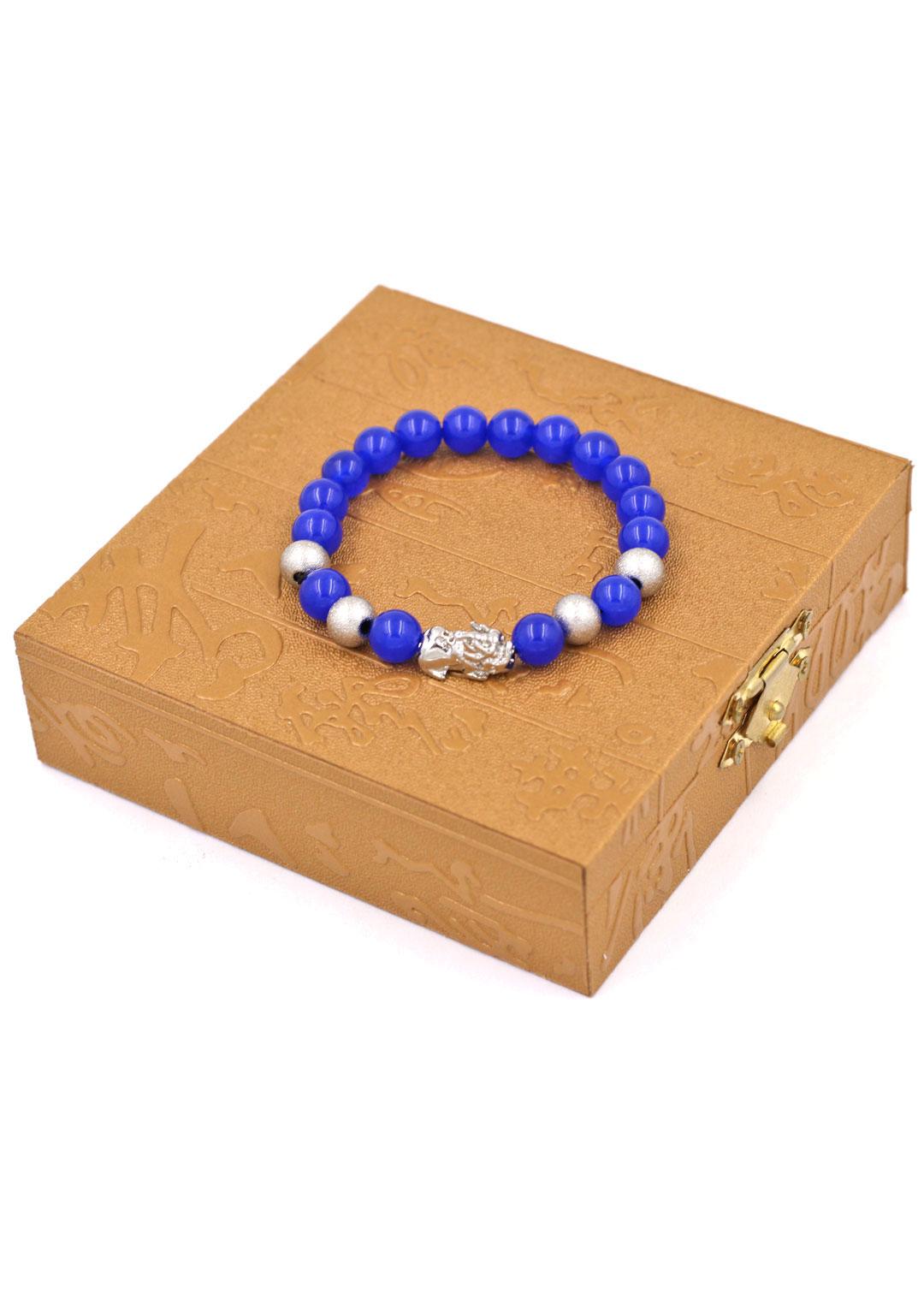 Chuỗi tay thạch anh xanh dương 8 ly - cẩn Tỳ Hưu inox bạc VTAXDTHTB8 + hộp gỗ - hợp mệnh Mộc, mệnh Thủy
