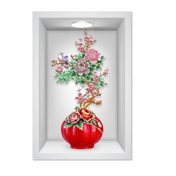 Tranh dán tường ô 3D lọ hoa đẹp 010 KT 40 x 60 cm
