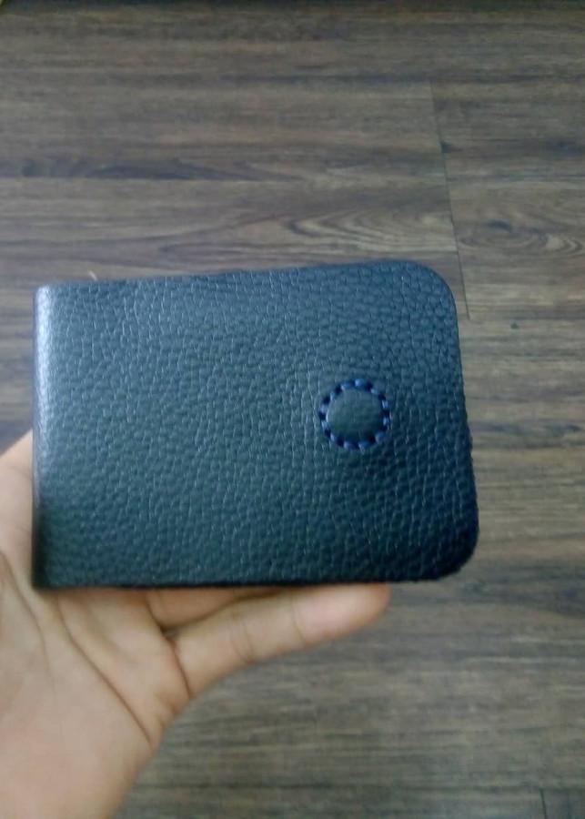 Bóp card khâu tay màu đen