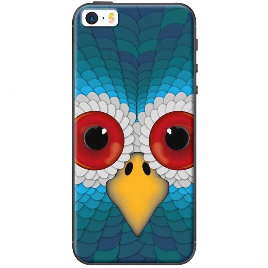 Ốp lưng dành cho iPhone 5, iPhone 5S, iPhone SE mẫu Cú mèo xanh dương