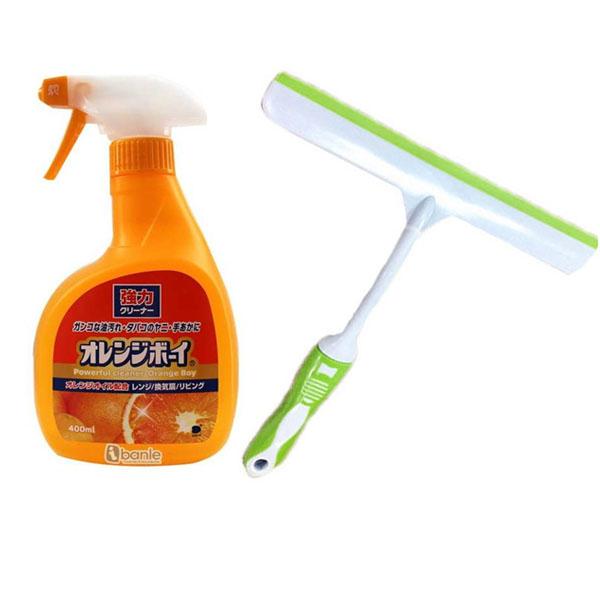 Combo chai dung dịch tẩy siêu mạnh cho vết bẩn cứng đầu, gỉ sét 400ml + dụng cụ lau kính nội địa Nhật Bản