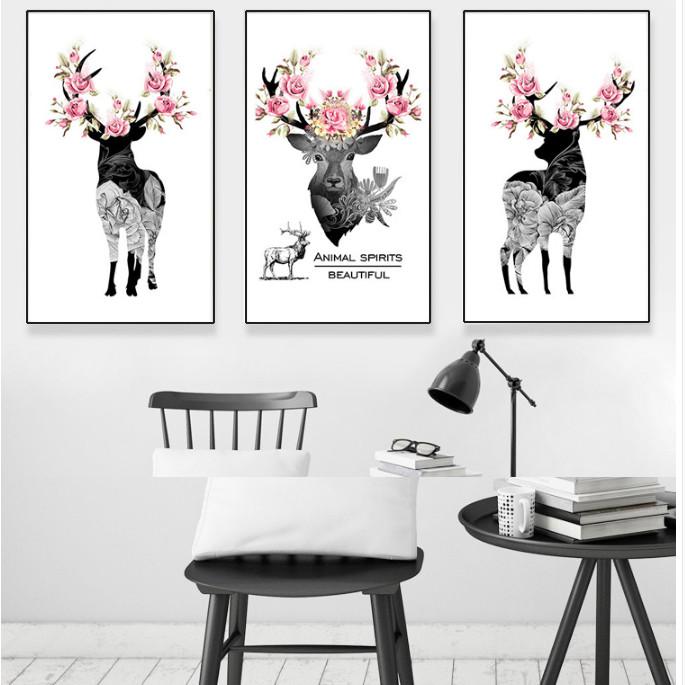 Bộ 3 tranh treo tường Canvas hươu hoa nghệ thuật CVC0303