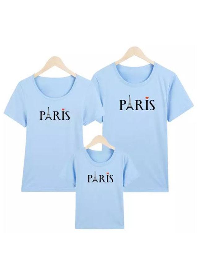 Áo Gia Đình Paris Nhiều Size Màu Xanh Dương Cao Cấp