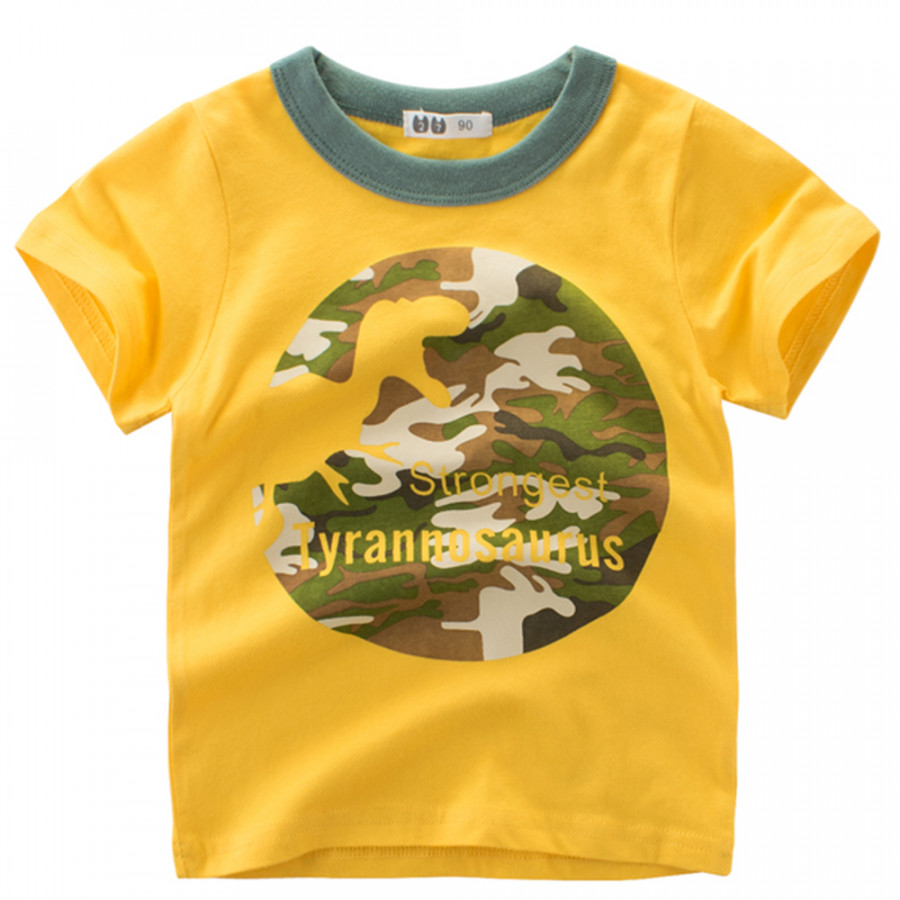 Boy Short Sleeve Cotton T-Shirt Round Neck Summer Kids Clothes Cartoon Dinosaur Camouflage Printing  Shirt Tee - 853137 , 8776141253743 , 62_14097687 , 211000 , Boy-Short-Sleeve-Cotton-T-Shirt-Round-Neck-Summer-Kids-Clothes-Cartoon-Dinosaur-Camouflage-Printing-Shirt-Tee-62_14097687 , tiki.vn , Boy Short Sleeve Cotton T-Shirt Round Neck Summer Kids Clothes Carto
