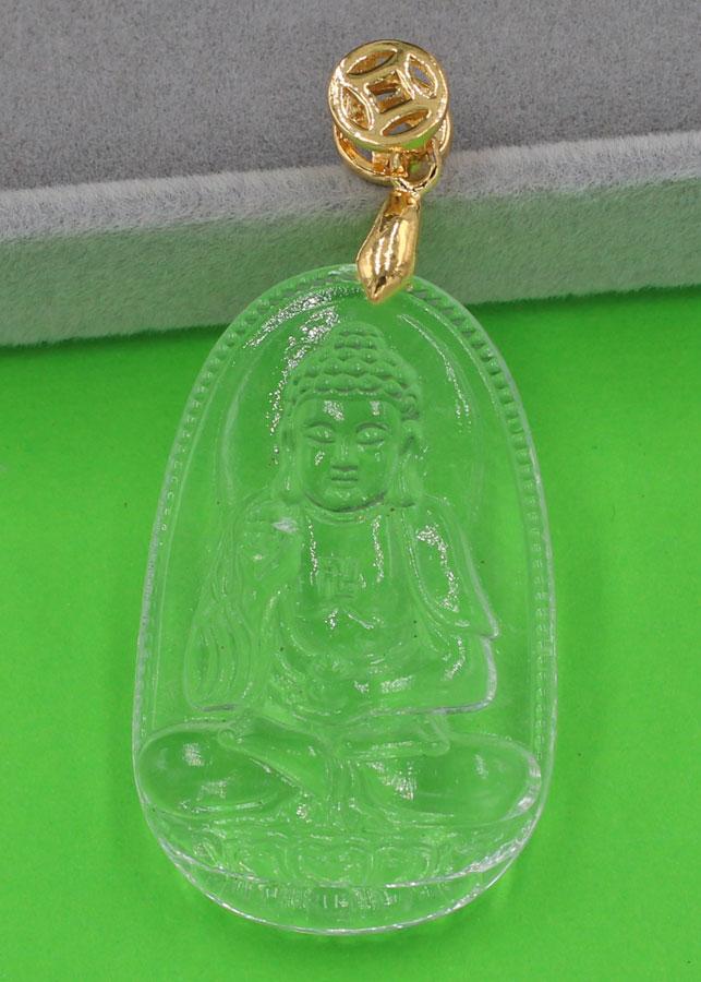 Mặt Phật A Di Đà thủy tinh trong 3.6 cm MFBTT7