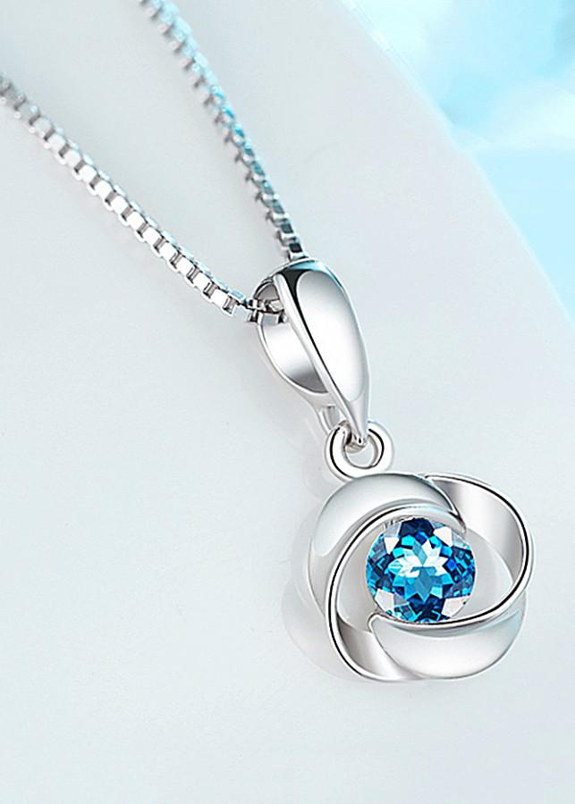 Dây chuyền bạc nữ - Vòng cổ bạc vô cực pha lê xanh PANMILA [TS-MDC-X012]