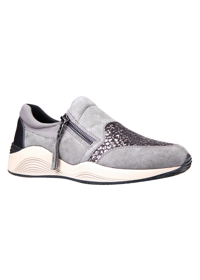 Giày Sneakers Nữ GEOX D Omaya A Goat Sue+Glit.Text Dk Grey