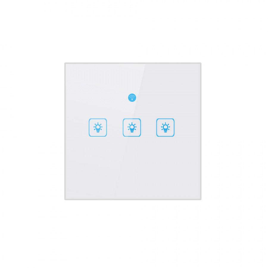 Công Tắc Đèn Cảm Ứng Thông Minh WIFI Mặt Kính Pha Lê (8.6 x 8.6 x 3.2 cm)