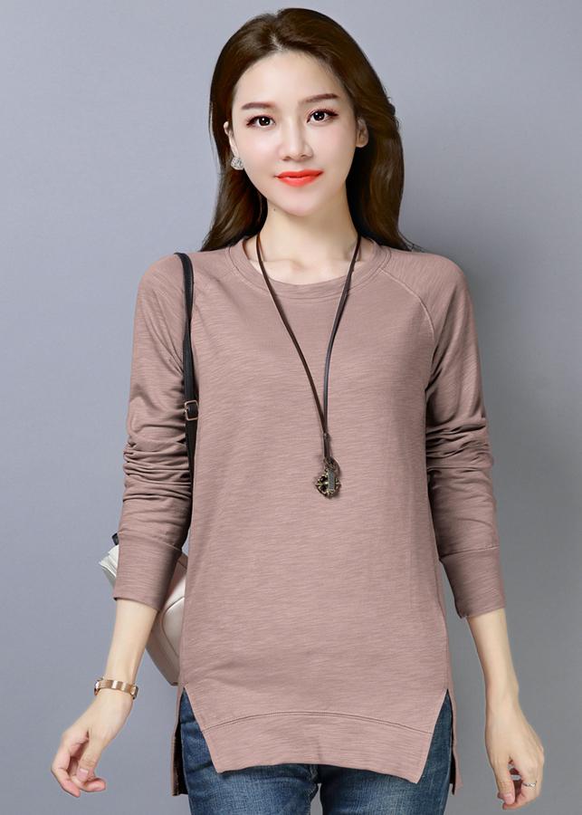 Áo thun nữ phôm dài thời trang thiết kế vạt áo xẻ dài độc đáo 102
