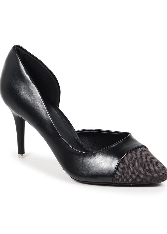 Giày cao gót bít mũi phối bố NADOSH 07006