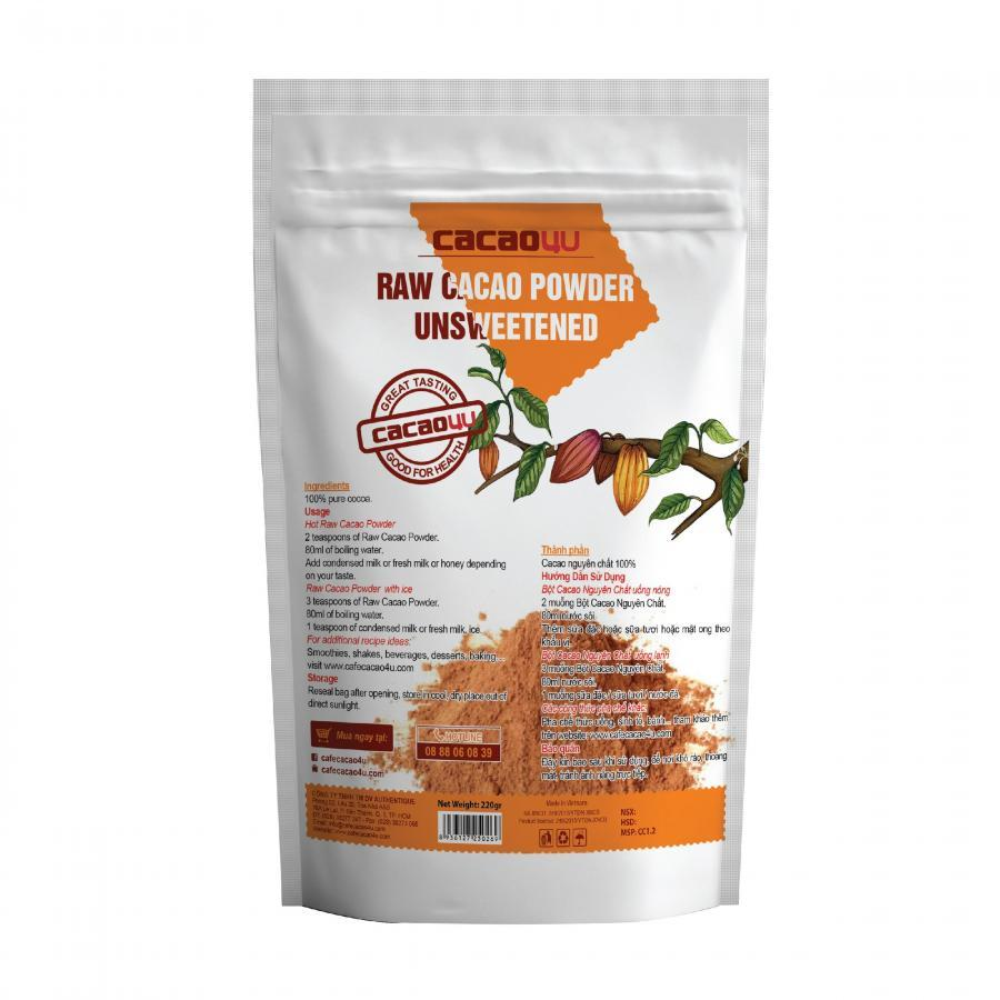 Bột cacao hỗ trợ giảm cân nguyên chất không đường Cacao4U - CC1.2 Túi 220gr - 987673 , 8801573347460 , 62_2595997 , 53900 , Bot-cacao-ho-tro-giam-can-nguyen-chat-khong-duong-Cacao4U-CC1.2-Tui-220gr-62_2595997 , tiki.vn , Bột cacao hỗ trợ giảm cân nguyên chất không đường Cacao4U - CC1.2 Túi 220gr