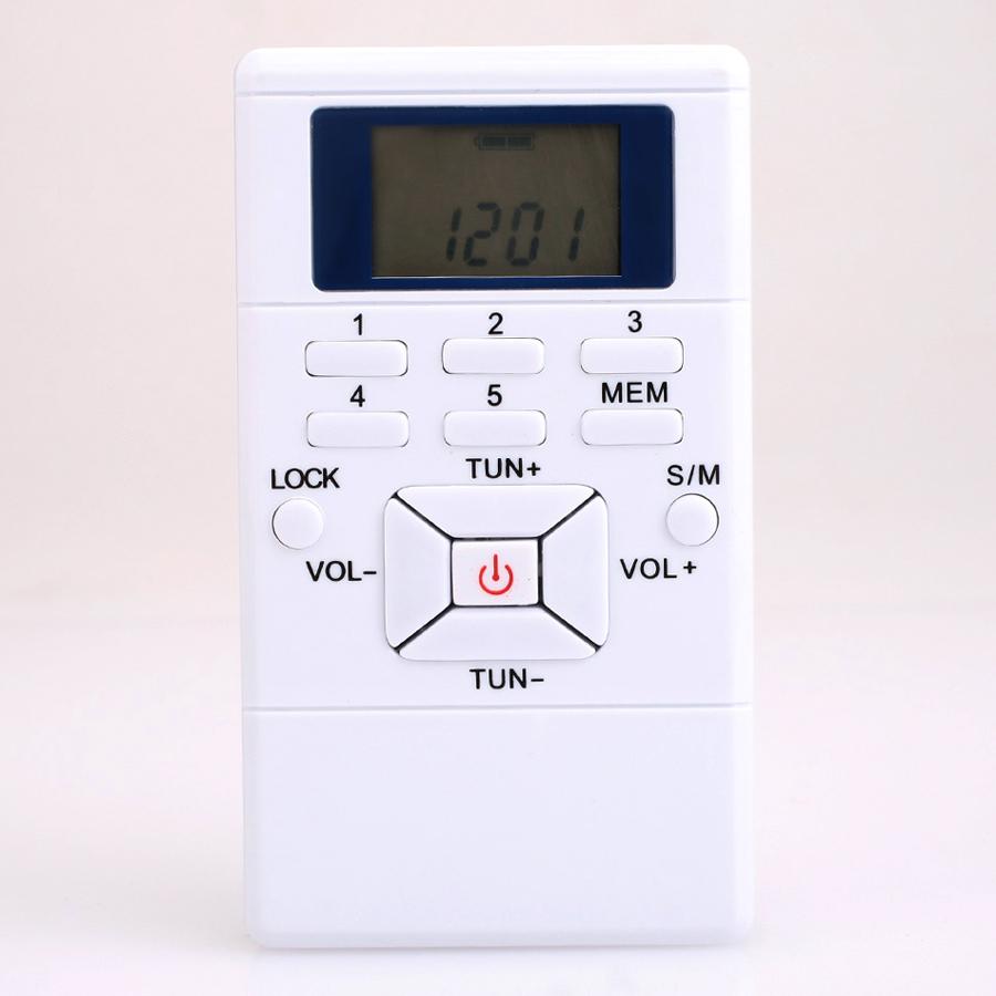 Mini Radio Pocket Digital Battery Powered FM Radio Receiver with Earphone Gray