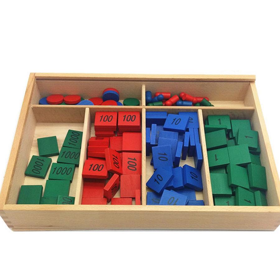 Hộp trò chơi tem số đồ giáo cụ học toán Giáo cụ Montessori