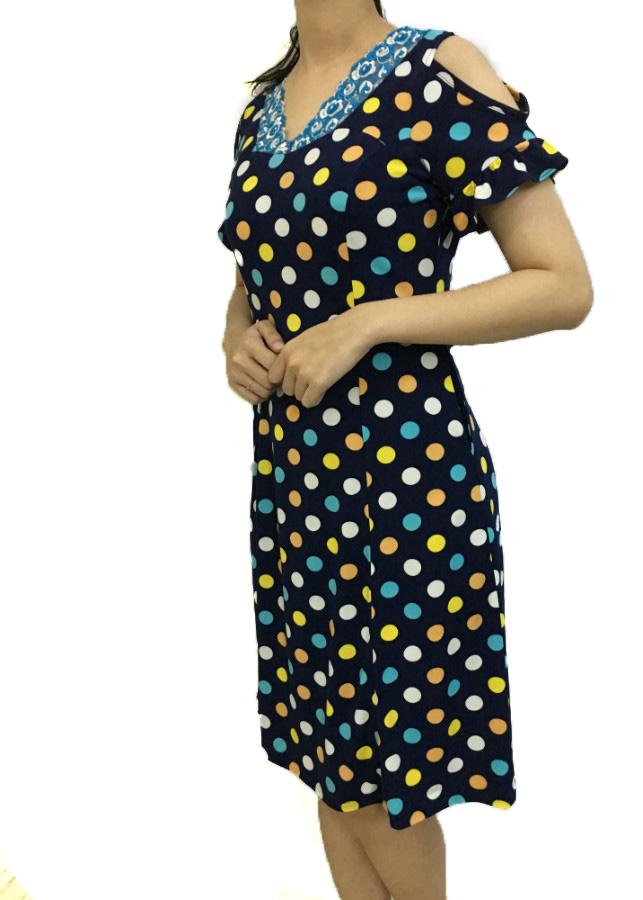 Đầm Mặc Nhà Tám Mảnh Bi Nền Xanh Đen DN08