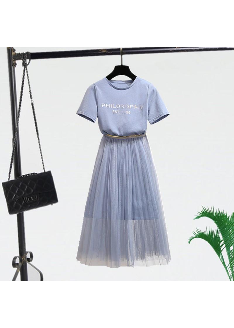 2802440874252 - Set thiết kế áo thun form dài và chân váy voan lưới