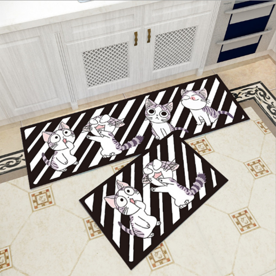 Bộ 2 thảm trang trí, thảm bếp cao cấp GOO19 (40x60 cm và 40x120 cm)