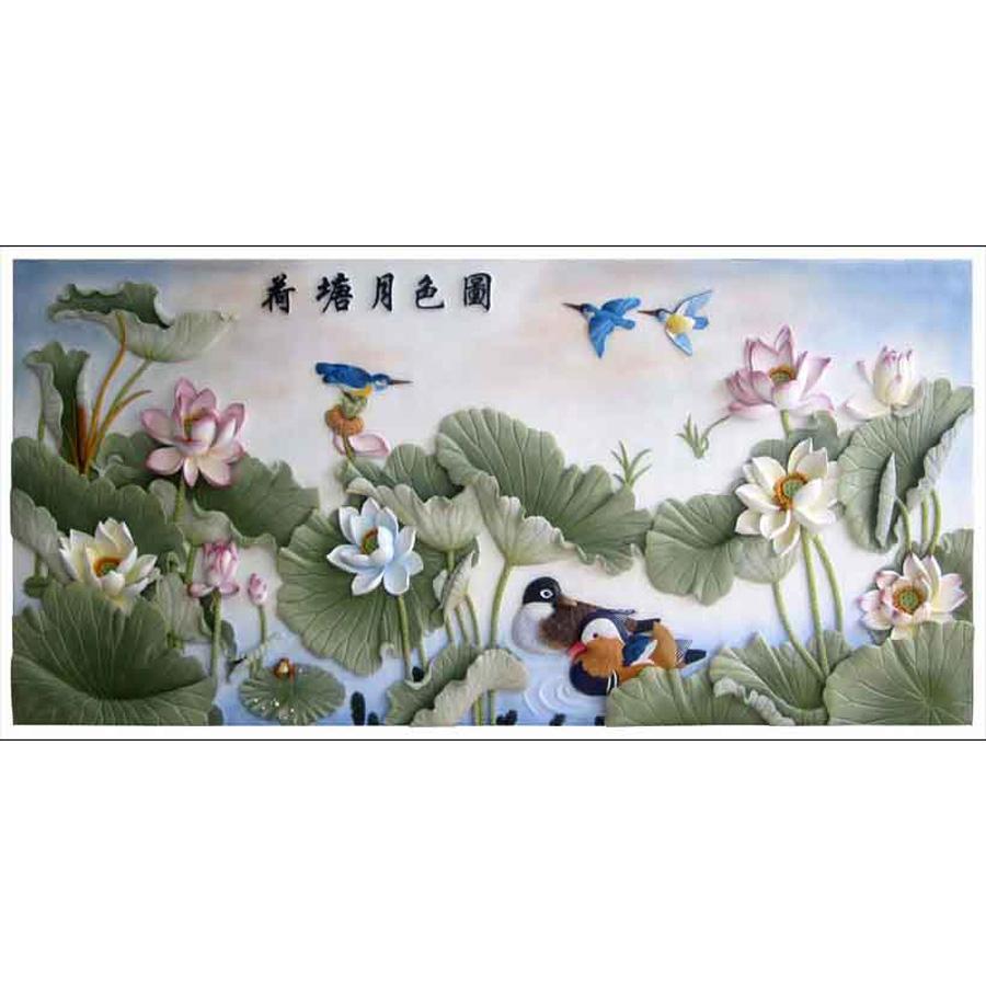 Tranh dán tường 3d | Tranh dán tường phong thủy hoa sen cá chép 3d 338