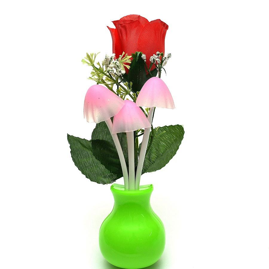 Đèn ngủ cảm biến ánh sáng Nấm và Hoa hồng