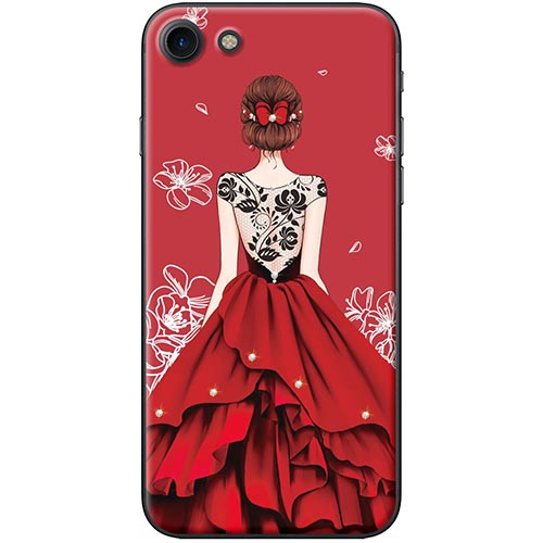 Ốp Lưng Hình Cô Gái Váy Đỏ Áo Đen Dành Cho iPhone 7 / 8