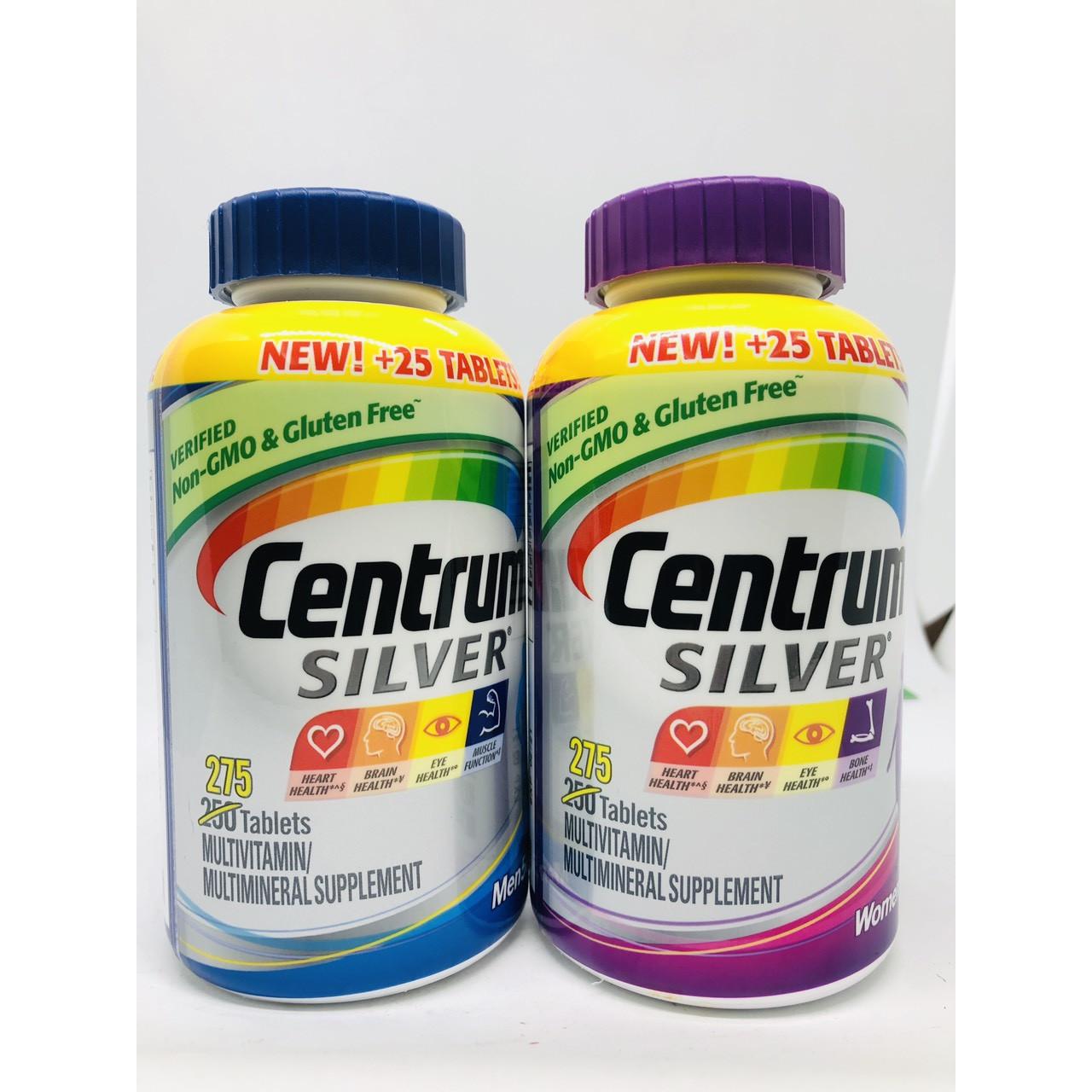 COMBO Thực phẩm bổ sung Centrm Men  Women Silver 50+ 275 viên mẫu mới của Mỹ GIÚP BỔ SUNG VITAMIN VÀ KHOÁNG CHẤT