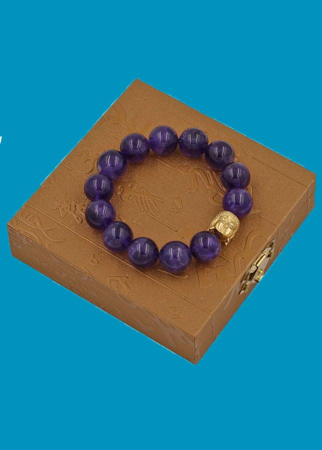 Vòng đeo tay Thạch Anh Tím Than 14 ly cẩn hạt Phật A Di Đà inox vàng VTAITNLV14 HỘP GỖ - hợp mệnh Hỏa, mệnh Thổ