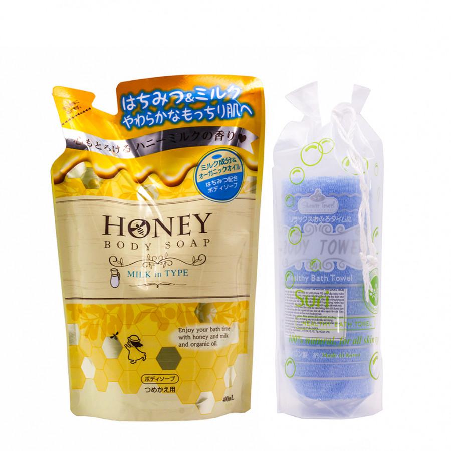 Sữa tắm trắng da Nhật Bản tinh chất sữa và mật ong Honey Milk in Type dạng túi (400ml) + Tặng ngay Khăn tắm lưới PE...