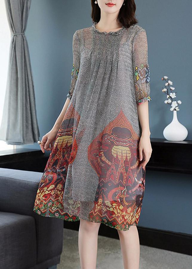 Đầm suông họa tiết sang trọng BY4313