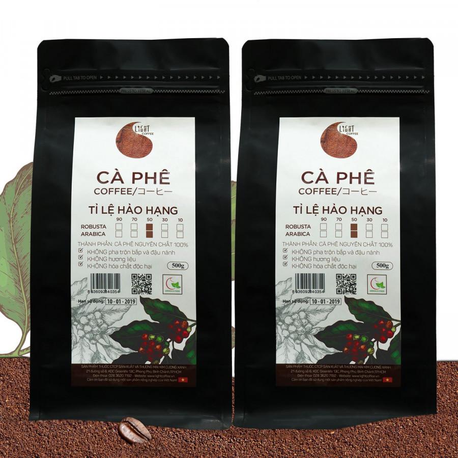 2 gói Cà phê Hạt nguyên chất 100% Tỉ lệ Hảo Hạng - 50% Robusta + 50% Arabica - Light coffee - gói 500g