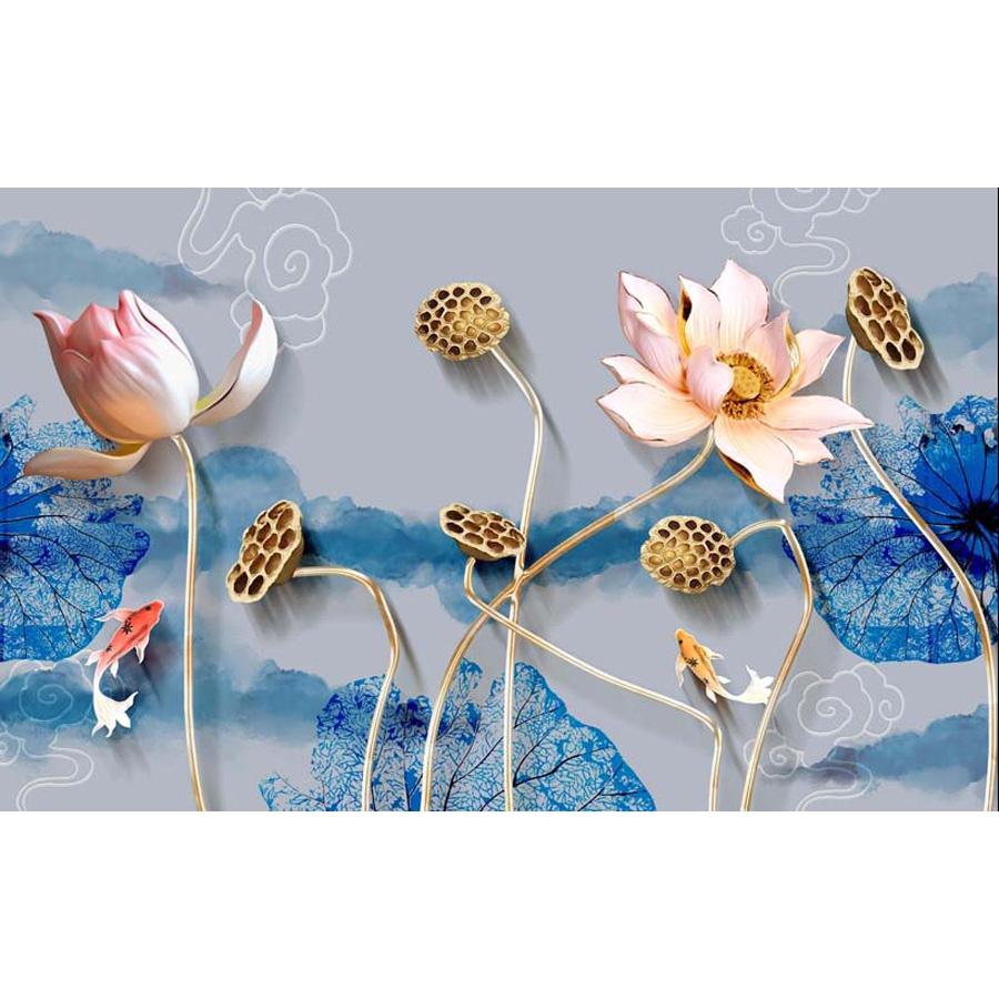 Tranh dán tường 3d | Tranh dán tường phong thủy hoa sen cá chép 3d 314