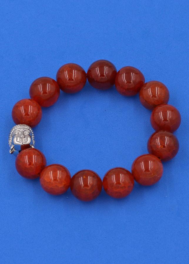 Vòng đeo tay đá Vân Rồng đỏ 14 ly cẩn hạt Phật A Di Đà inox bạc VVRONLT14 - hợp mệnh Hỏa, mệnh Thổ
