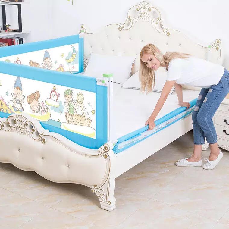Combo Thanh chắn giường dạng trượt không khoan đục- Mẫu mới nhất- 1 thanh 1m8 và 1 thanh 2m- Màu xanh