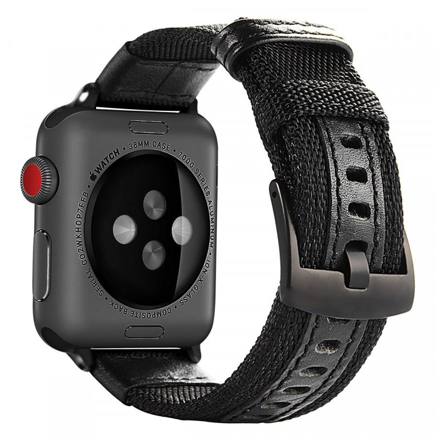 Dây đeo cho đồng hồ Apple Watch 44mm/42mm/40mm/38mm chất liệu dù và thép không gỉ