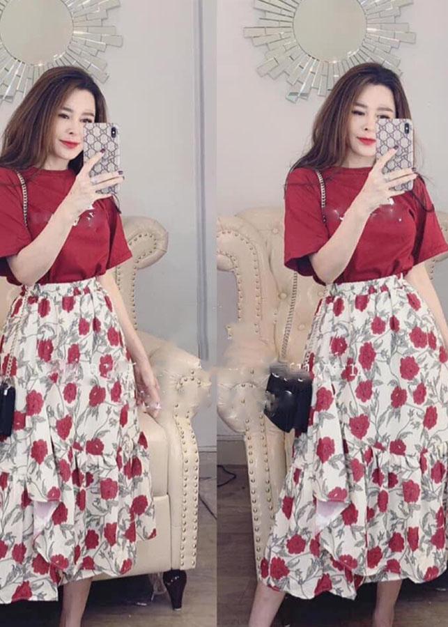 1019430850535 - S168-Set bộ áo thun chân váy màu đỏ siêu đẹp