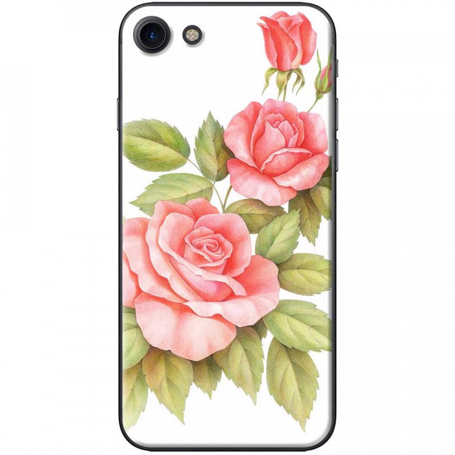 Ốp lưng dành cho iPhone 7 mẫu Ba hoa hồng đỏ nền trắng