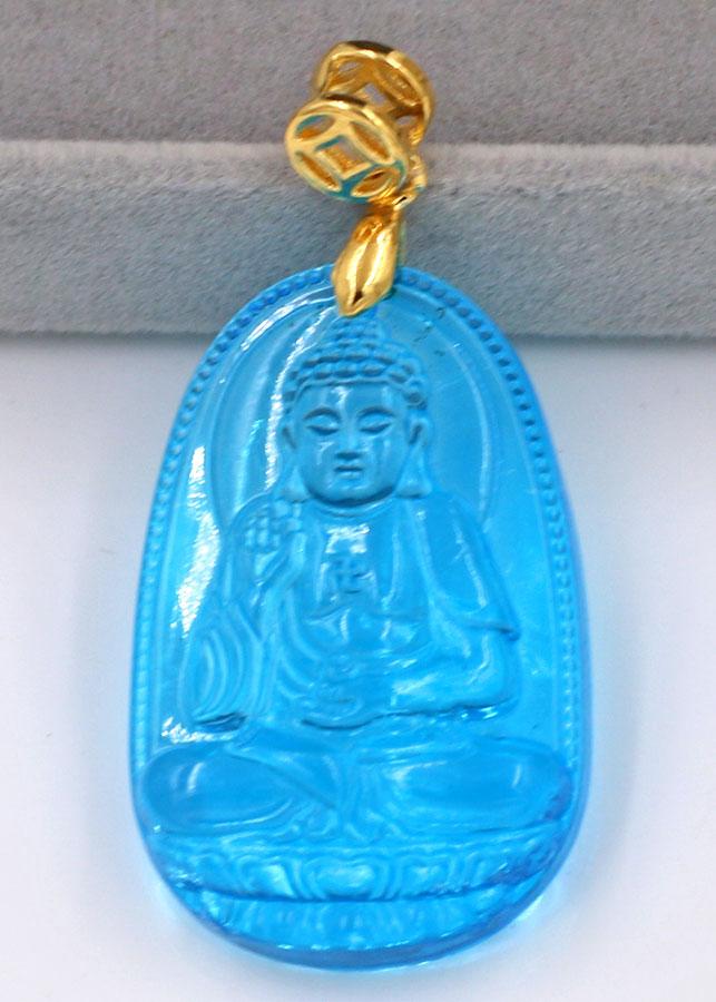 Mặt phật A Di Đà thủy tinh xanh lam 3.6cm