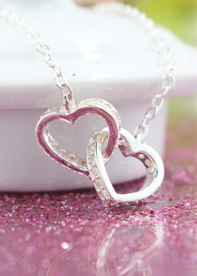Dây chuyền bạc nữ mặt trái tim đôi đính đá DCN0264