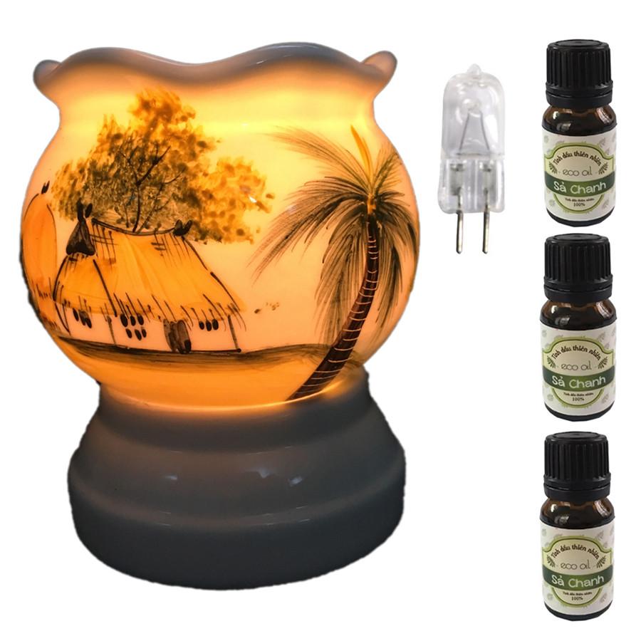 Đèn xông tinh dầu size L AH02 và 3 tinh dầu sả chanh Eco 10ml và 1 bóng đèn