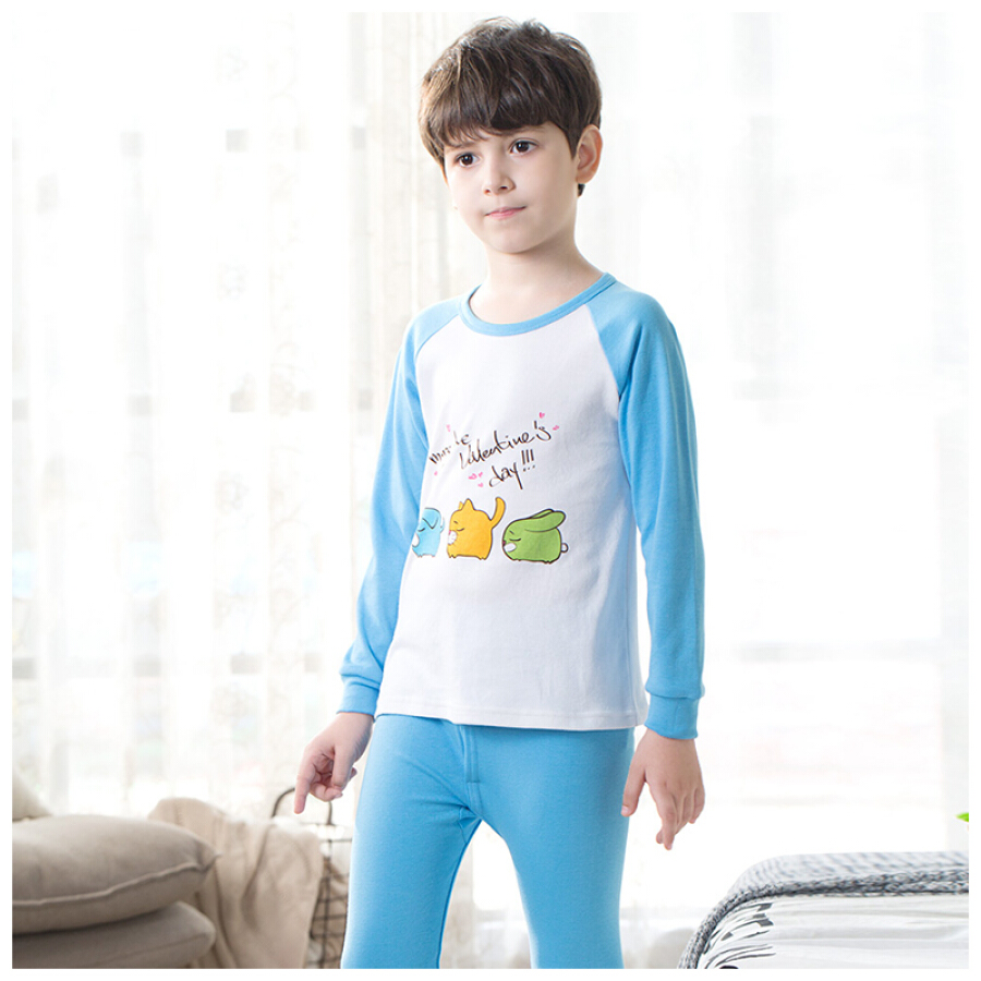 Red beans home (Hodohome) children's underwear set boys and girls cotton print pattern round neck pajamas autumn clothes pants suit sky blue...