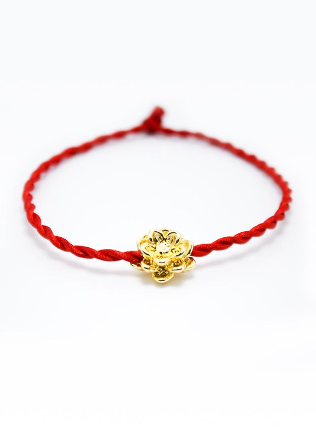 Vòng phong thủy, vòng dây chỉ đỏ may mắn mix hoa sen CD3-M