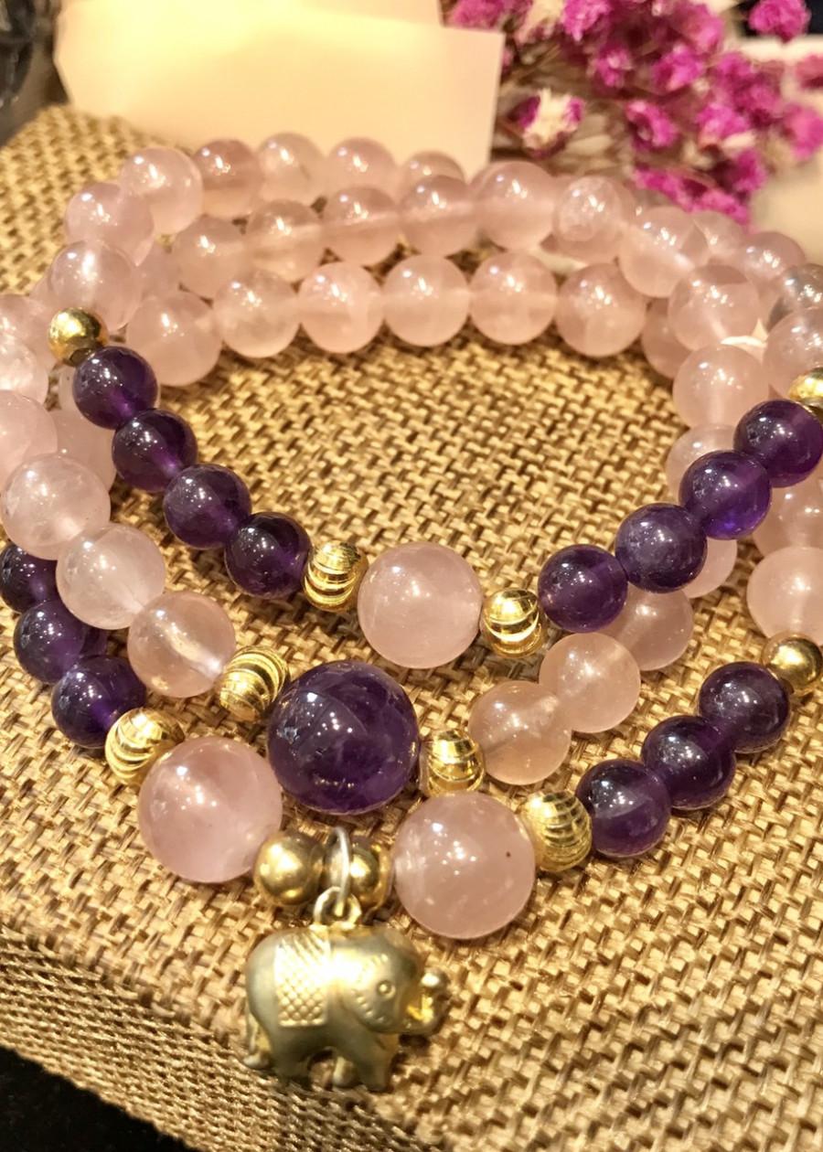 Bộ 3 vòng tay Thạch anh hồng mix charm bạc 92.5 mạ vàng