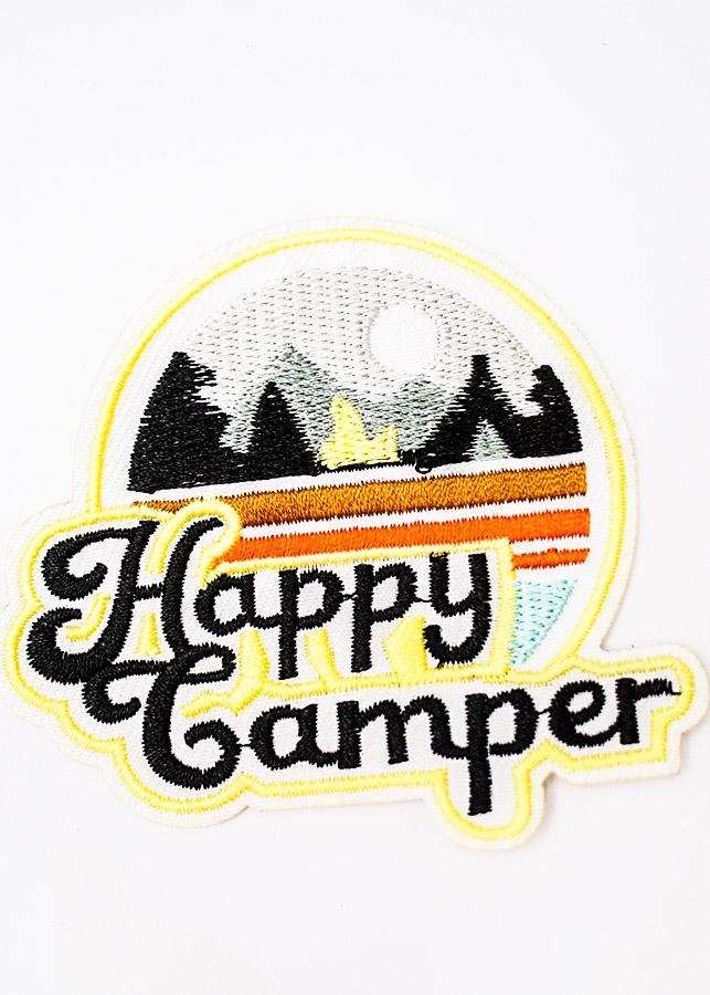 Happy Camper chữ đen - Patch ủi sticker vải