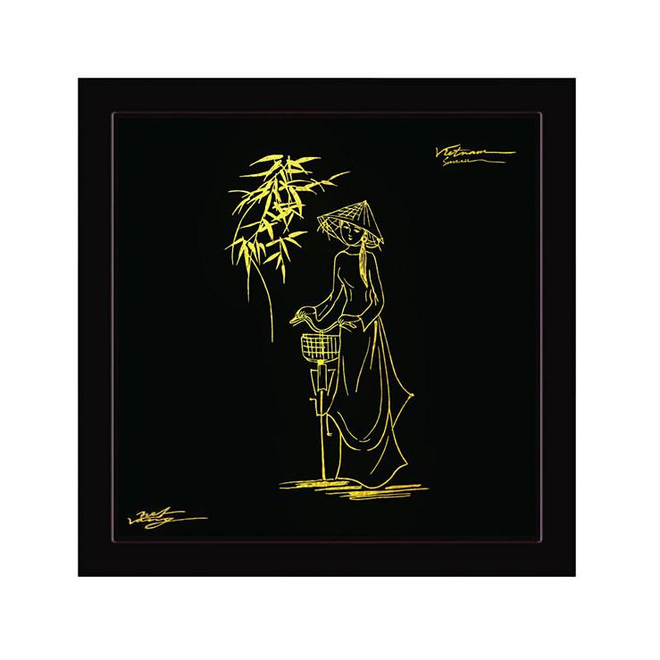 Tranh Nét Vàng - Nữ sinh áo dài
