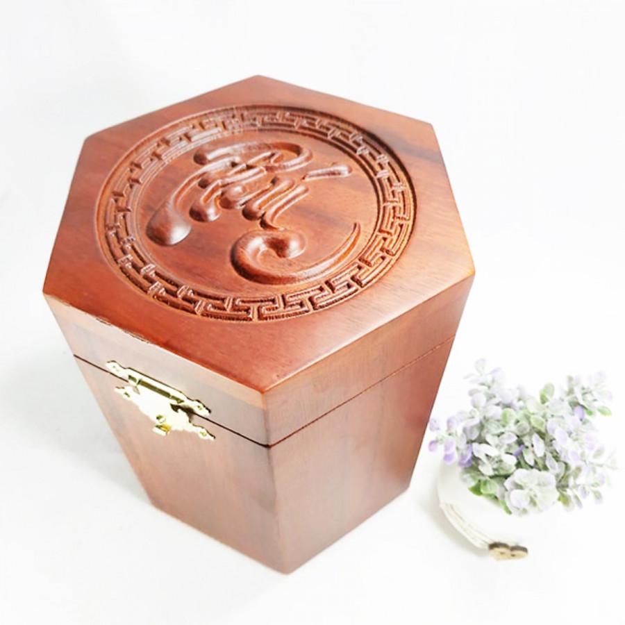 Hộp đựng trà Chữ PHÚC lục giác bằng gỗ - hộp đựng trà WINS WOOD