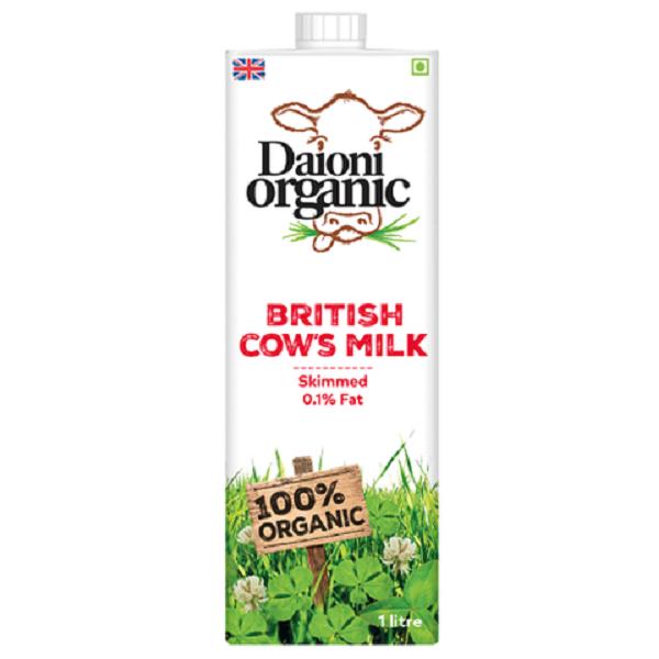 Thùng 12 hộp sữa hữu cơ Daioni tách béo 1 lít
